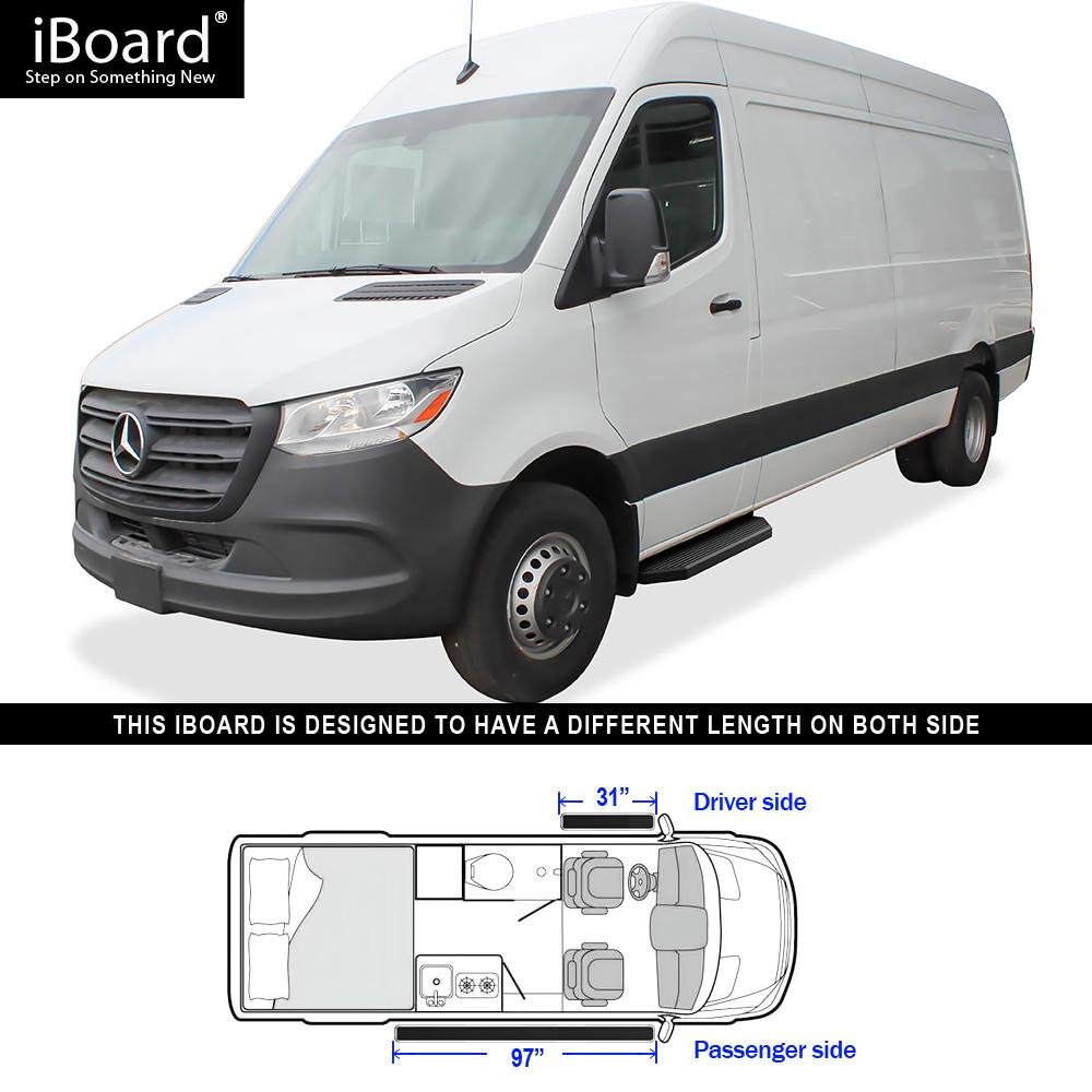 """Premium 6/"""" Black iBoard Side Steps Fit 10-19 Dodge Mercedes-Benz Sprinter"""