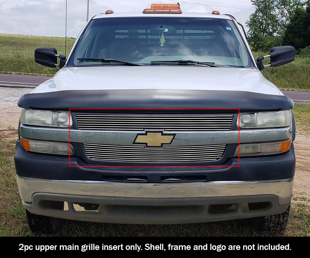 Fits 2001 2002 Chevy Silverado 2500hd 3500 Upper Billet Grille Insert Ebay