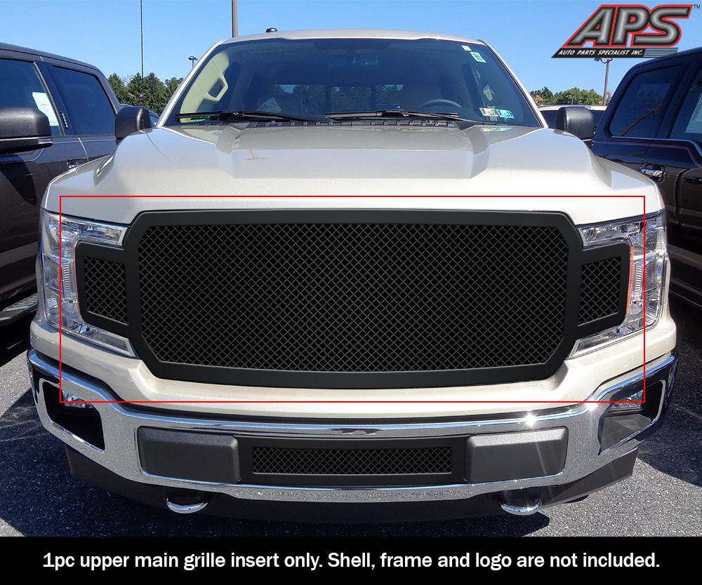 Details About Fits 2018 2020 Ford F 150 W O Front Camera Main Upper Black Mesh Grille