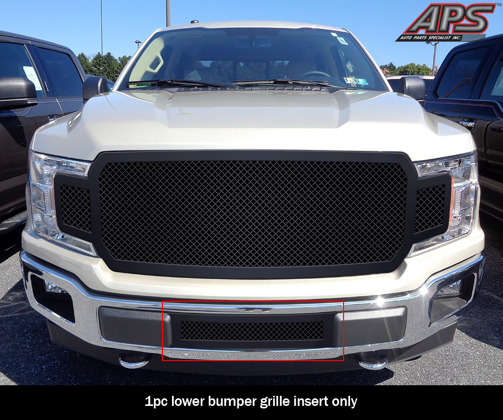 APS Compatible with 2009-2020 Nissan Frontier Upper Stainless Black Mesh Grille Grill Insert N76641H