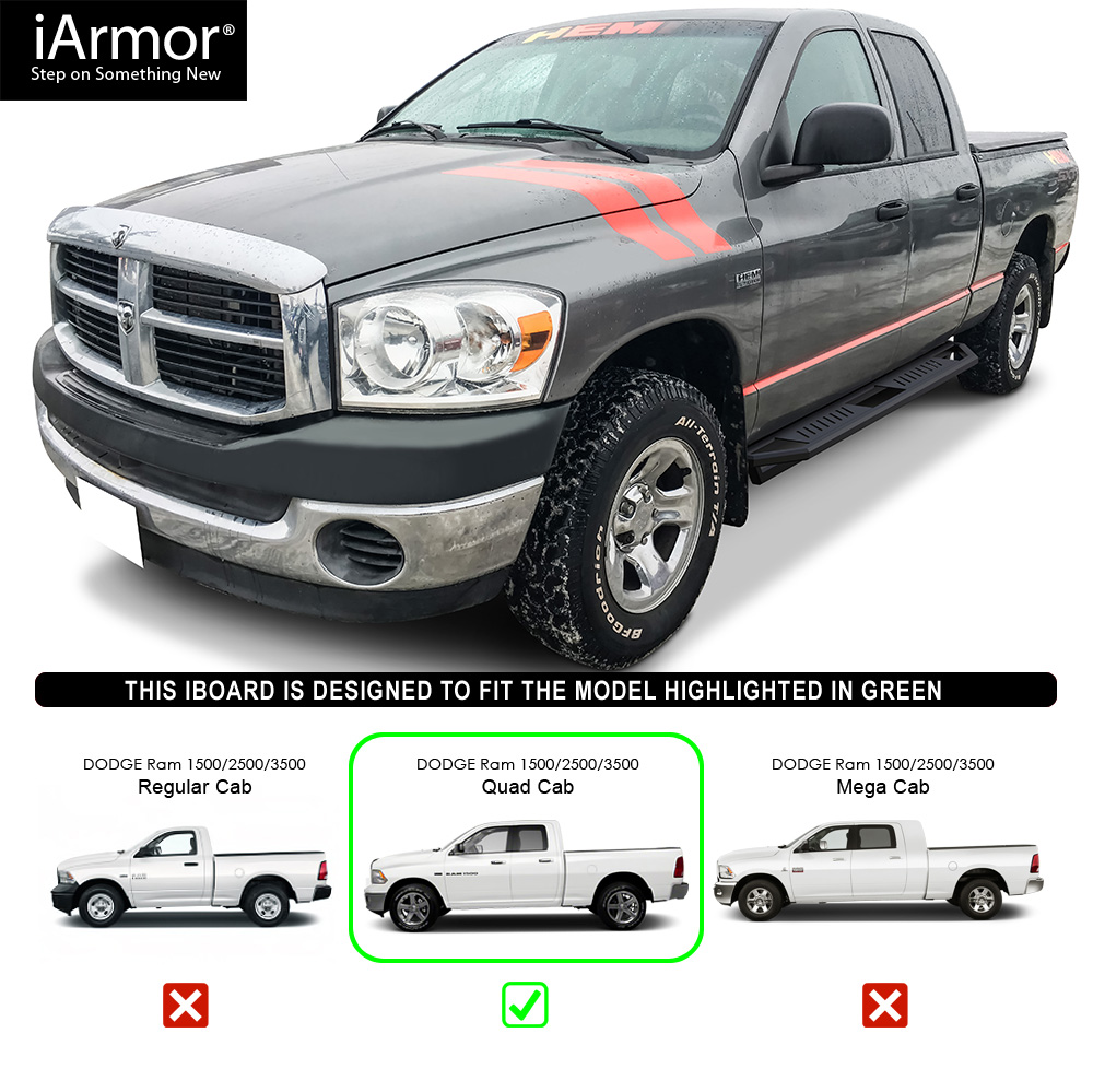 "IArmor 6.5"" Nerf Bars Square Tube Fit 02-08 Dodge Ram 1500"
