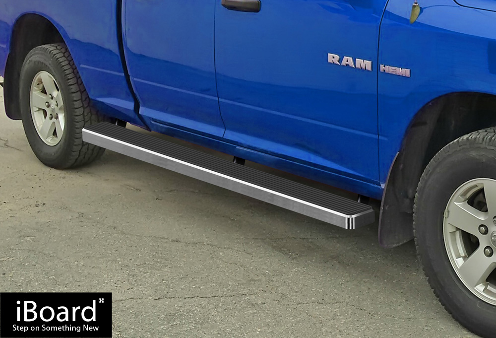 Running Board Side Step Nerf Bars W2W Silver Fit Ram Crew Cab 6.5ft Bed 09-18