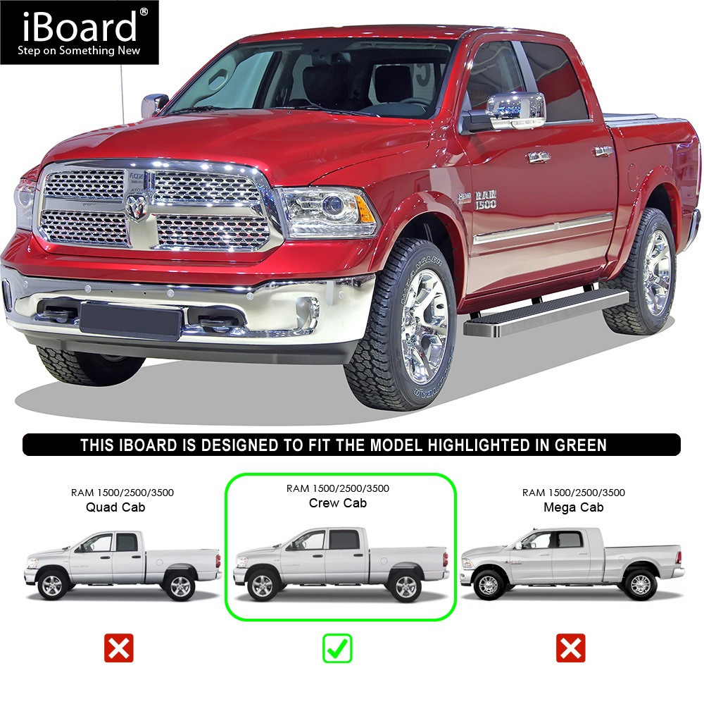 """4 Inch Running Boards Side Step For Ram 1500 2500 3500: 6"""" IBoard Running Boards Nerf Bars Fit 09-18 Dodge Ram"""