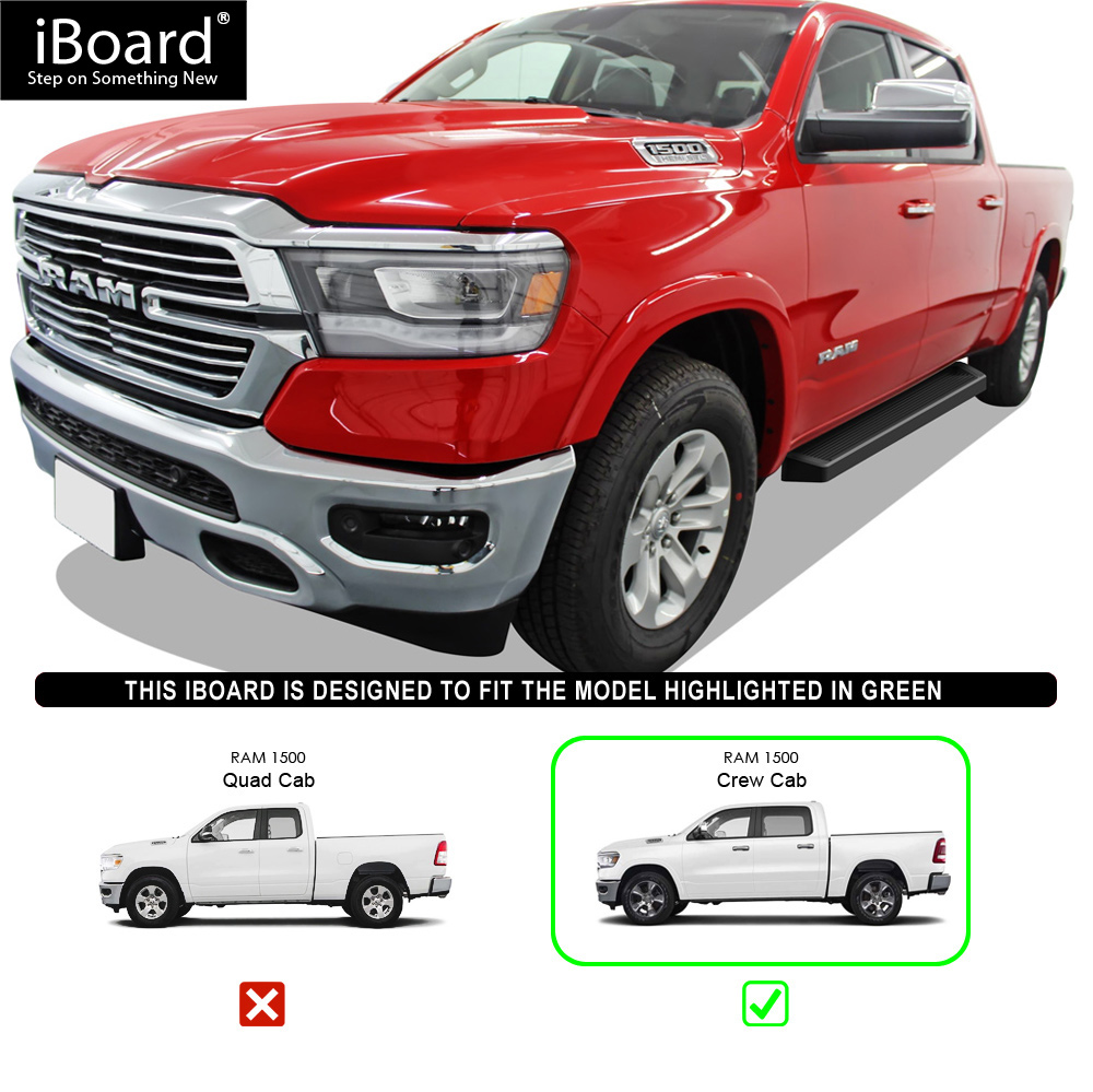 Nerf Bars | Side Steps | Side Bars APS iBoard Running Boards 5 Custom Fit 2019-2020 Ram 1500 Crew Cab Pickup 4Dr for New Body Style ONLY Will Not Fit 2018 Model Build in 2019