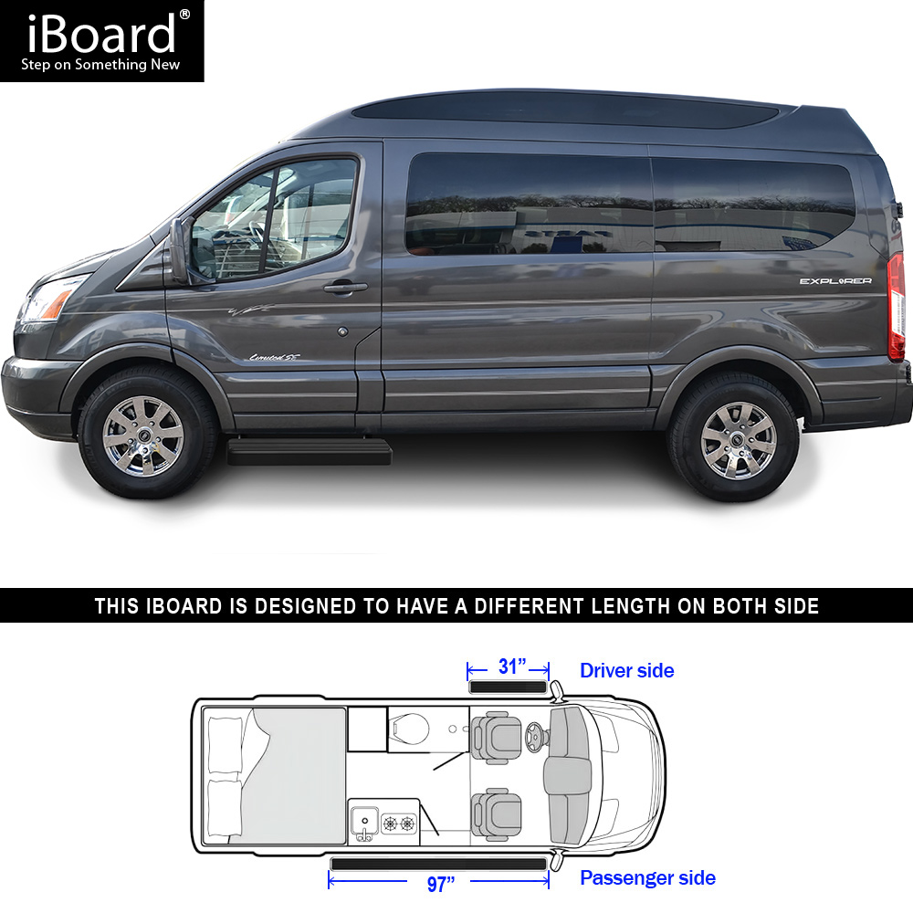 Premium 6 Black Iboard Side Steps Fit 15 17 Ford Transit Full Size