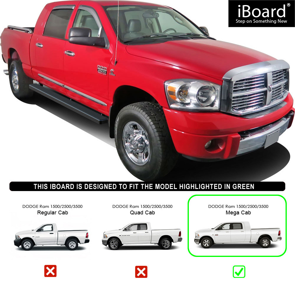 "2006 2009 Dodge Ram 1500 Sinister Black 06 08 Ram 2500: 4"" IBoard Running Boards Nerf Bars Fit 06-08 Dodge Ram"